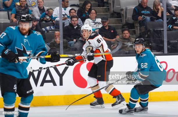 Rickard Rakell of the Anaheim Ducks skates against Kevin Labanc of the San Jose Sharks at SAP Center on September 19 2017 in San Jose California