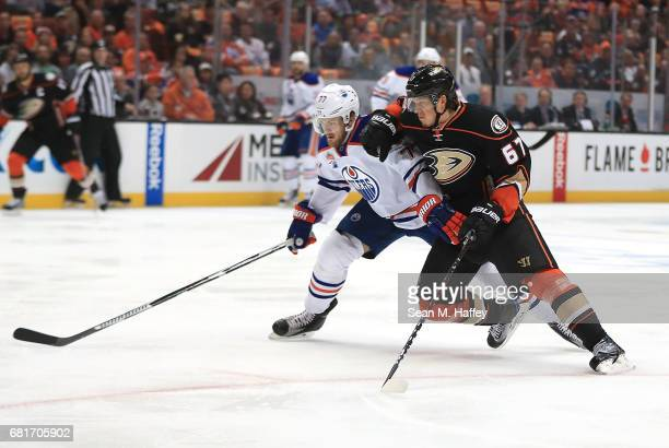 Rickard Rakell of the Anaheim Ducks skates against Oscar Klefbom of the Edmonton Oilers in Game Seven of the Western Conference Second Round during...