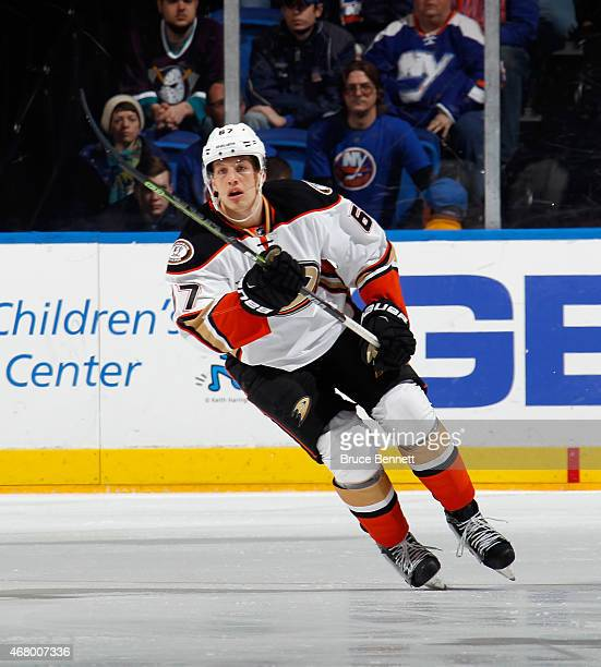 Rickard Rakell of the Anaheim Ducks skates against the New York Islanders at the Nassau Veterans Memorial Coliseum on March 28 2015 in Uniondale New...