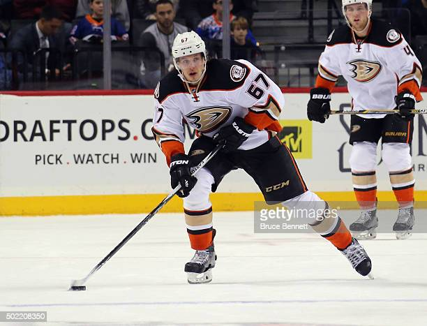 Rickard Rakell of the Anaheim Ducks skates against the New York Islanders at the Barclays Center on December 21 2015 in the Brooklyn borough of New...