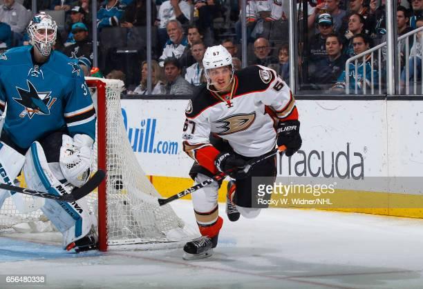 Rickard Rakell of the Anaheim Ducks skates against the San Jose Sharks at SAP Center on March 18 2017 in San Jose California