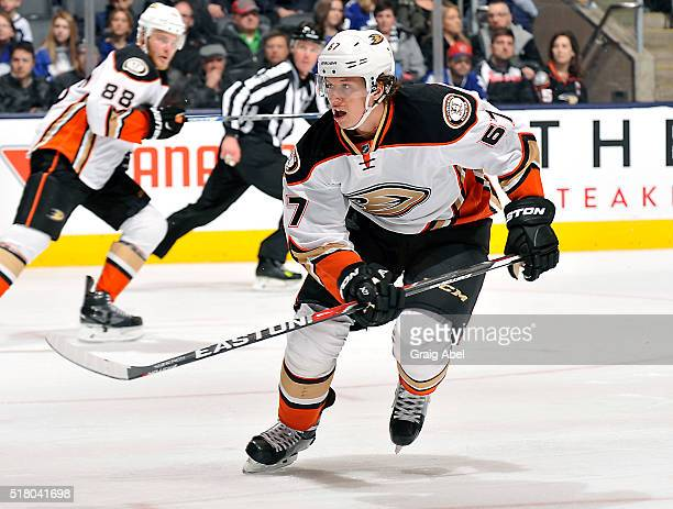 Rickard Rakell of the Anaheim Ducks skates up ice against the Toronto Maple Leafs during game action on March 24 2016 at Air Canada Centre in Toronto...