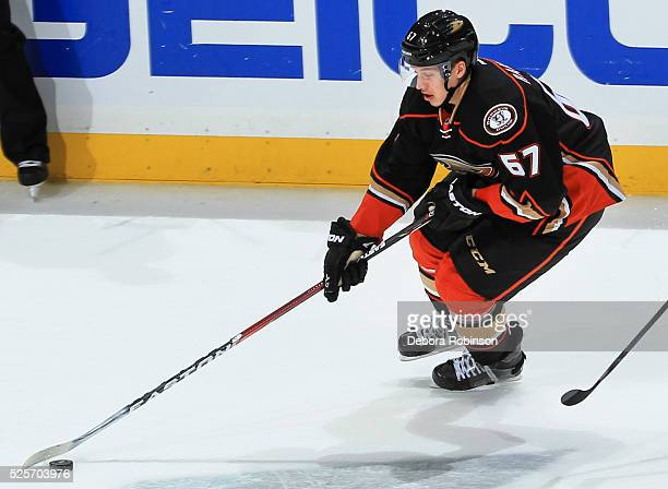 Rickard Rakell of the Anaheim Ducks skates with the puck in Game One of the Western Conference Quarterfinals against the Nashville Predators during...