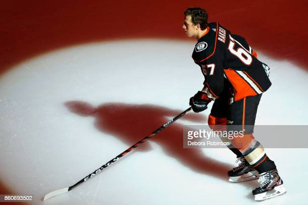 Rickard Rakell of the Anaheim Ducks takes the ice to start the game against the Arizona Coyotes on October 5 2017 at Honda Center in Anaheim...