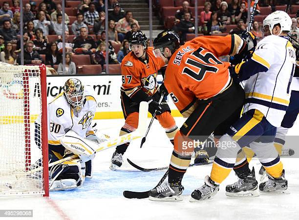 Rickard Rakell of the Anaheim Ducks watches his goal on Carter Hutton of the Nashville Predators to take a 10 lead during the first period at Honda...
