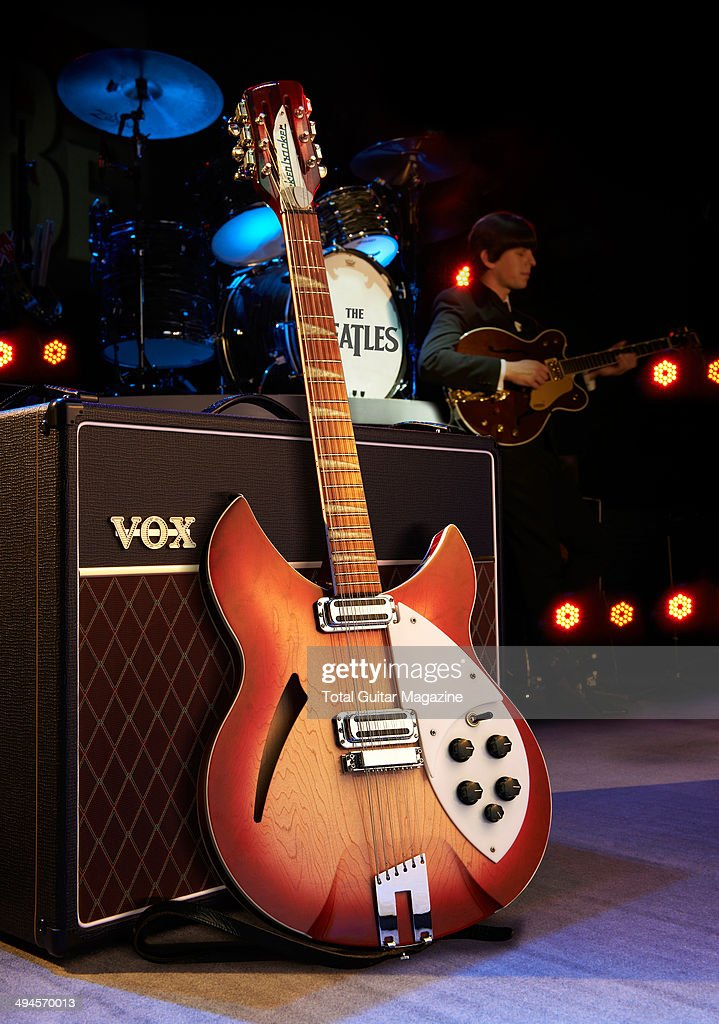 Rickenbacker 360-12 electric guitar leaning on a Vox amp for a Beatles-themed photo shoot, taken on September 26, 2013.