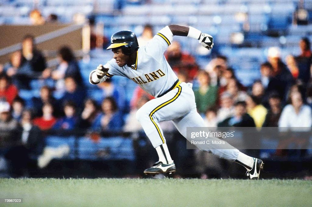 Rickey Henderson of the Oakland Athletics running to second base in a game against the Baltimore Orioles in April 1982 in Baltimore Maryland