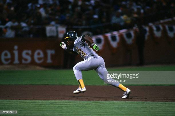 Rickey Henderson of the Oakland Athletics runs during the 1989 World Series against the San Francisco Gaints at Candlestick Park in San Francisco...