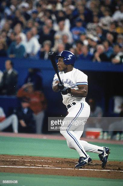 Rickey Henderson of the Toronto Blue Jays swings at the pitch during game six of the 1993 World Series against the Philadelphia Phillies at the...
