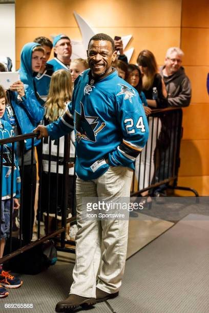 Rickey Henderson was the Shark's lead cheerleader at the Round 1 Game 3 between the Edmonton Oilers and the San Jose Sharks held April 16 2017 at the...