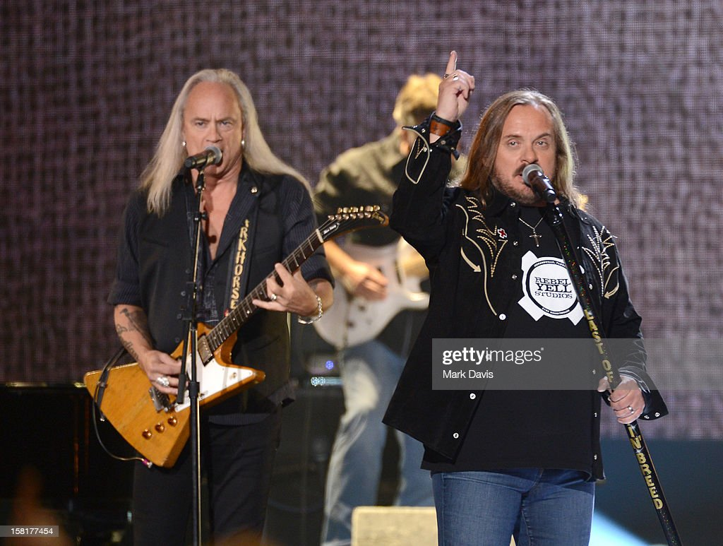 Rickey Medlocke (L) and Johnny Van Zant of Lynyrd Skynyrd perform onstage during the 2012 American Country Awards at the Mandalay Bay Events Center on December 10, 2012 in Las Vegas, Nevada.