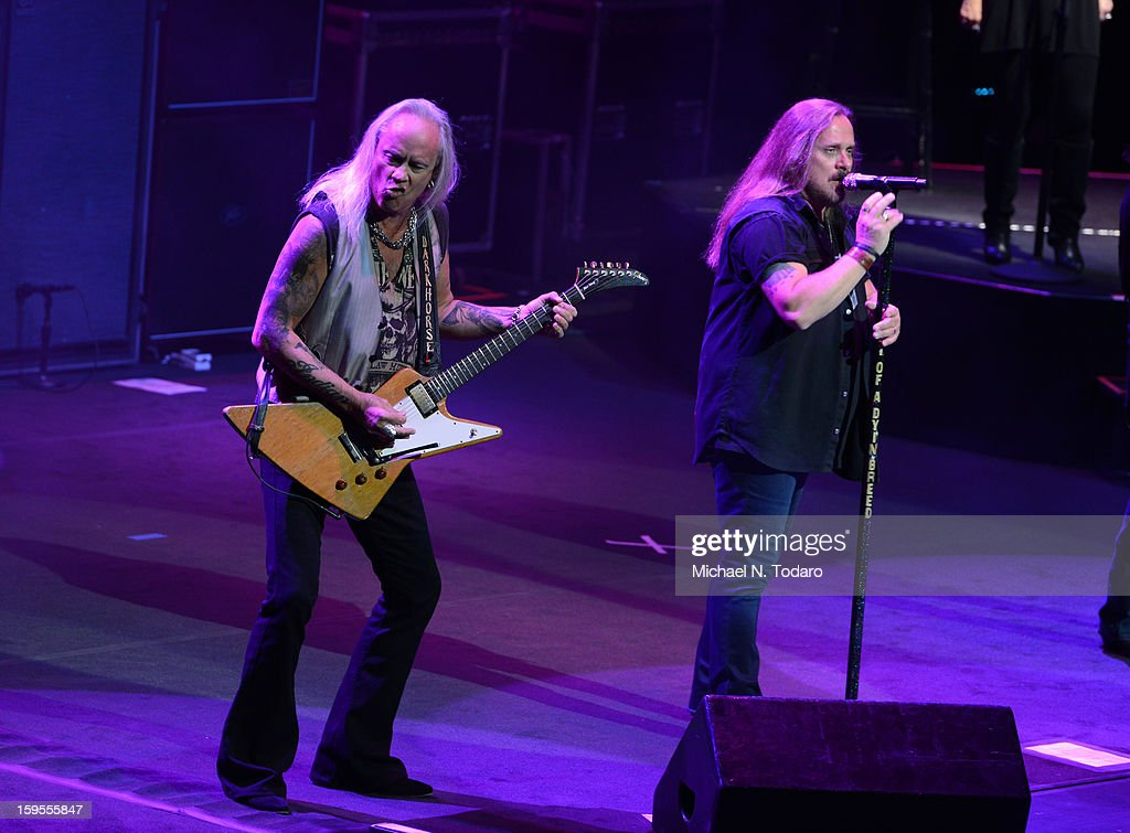 Rickey Medlocke and Johnny Van Zant perform at The Beacon Theatre on January 15, 2013 in New York City.