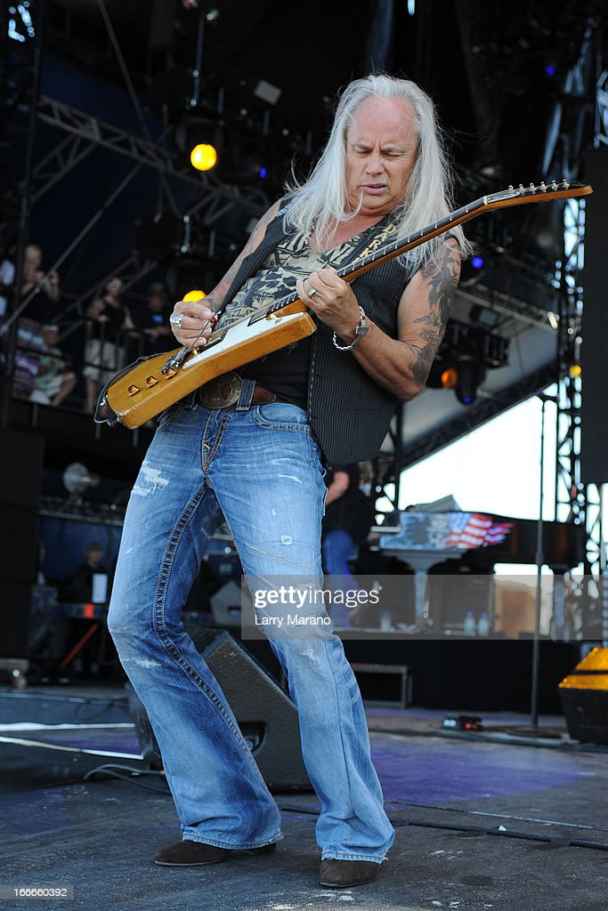 <a gi-track='captionPersonalityLinkClicked' href=/galleries/search?phrase=Rickey+Medlocke&family=editorial&specificpeople=2560143 ng-click='$event.stopPropagation()'>Rickey Medlocke</a> of Lynyrd Skynyrd performs during the Rock The Oceans Tortuga Festival on April 14, 2013 in Fort Lauderdale, Florida.