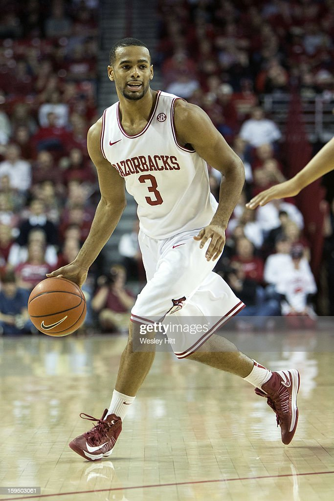 Rickey Scott #3 of the Arkansas Razorbacks during a game against the Vanderbilt Commodores at Bud Walton Arena on January12, 2013 in Fayetteville, Arkansas. The Razorbacks defeated the Commodores 56-33.