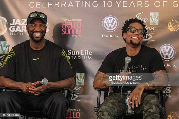 Rickey Smiley and DL Hughley attend JAZZ in The Gardens Press Conference at Sun Life Stadium on March 20 2015 in Miami Gardens Florida