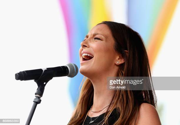 Ricki Lee Coulter performs at a Marriage Equality rally in Taylor Square on October 8 2017 in Sydney Australia Australians are currently taking part...