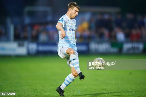 Ricki Olsen of FC Helsingor controls the ball during the Danish Alka Superliga match between FC Helsingor and OB Odense at Helsingor Stadion on July...