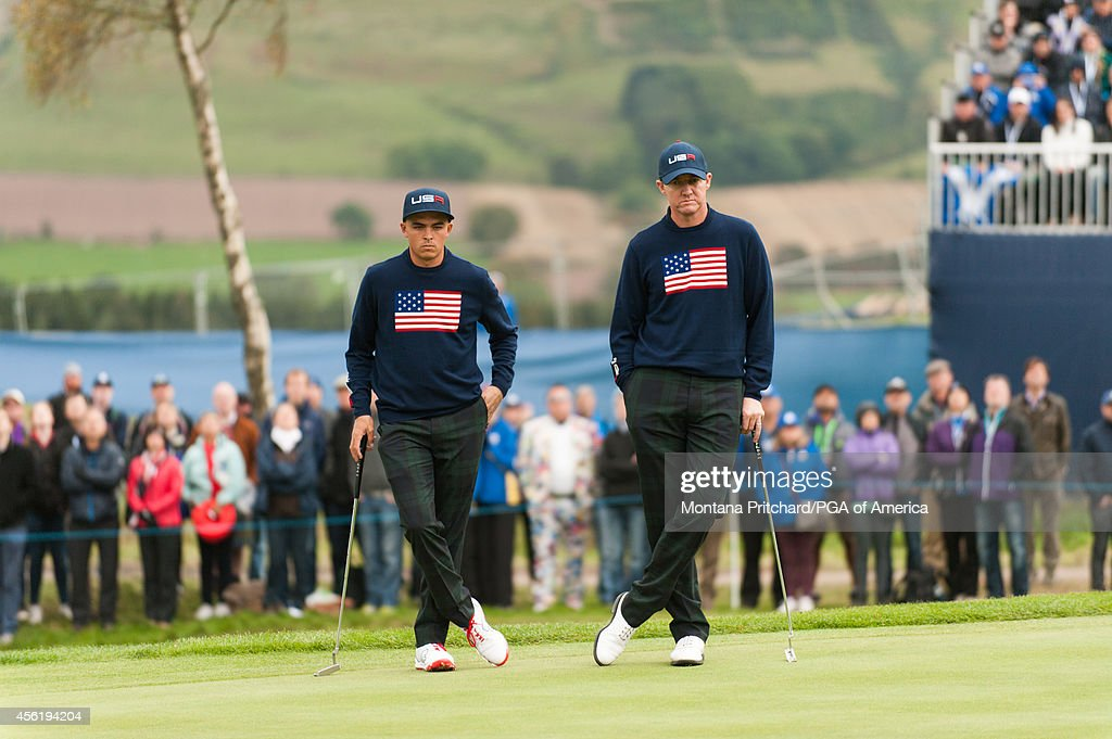 Rickie Fowler and Jimmy Walker of the United States wait to putt on four during the foursome matches for the 40th Ryder Cup at Gleneagles on...