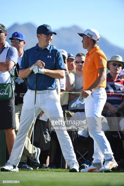 Rickie Fowler and Jordan Spieth wait to tee off on the 3rd hole during the final round of the Waste Management Phoenix Open at TPC Scottsdale on...