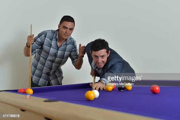 Rickie Fowler and Rory McIlroy play a game of pool on May 26 2015 in Newcastle Northern Ireland The Rory Foundation are the hosts for a special gala...