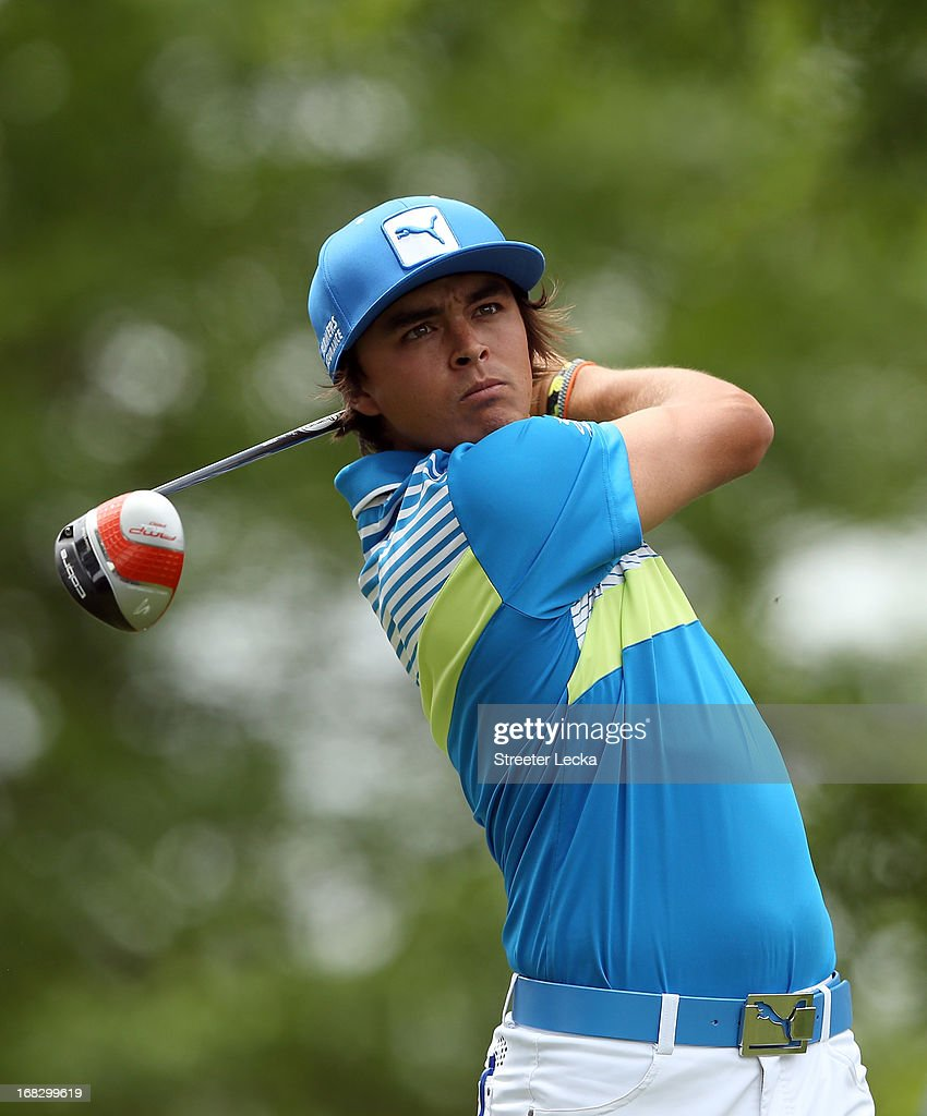 <a gi-track='captionPersonalityLinkClicked' href=/galleries/search?phrase=Rickie+Fowler+-+Golfer&family=editorial&specificpeople=4466576 ng-click='$event.stopPropagation()'>Rickie Fowler</a> during the second round of the Wells Fargo Championship at Quail Hollow Club on May 3, 2013 in Charlotte, North Carolina.