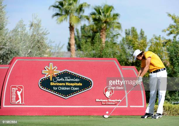 Rickie Fowler hits a drive during the final round of the Justin Timberlake Shriners Hospitals for Children Open held at TPC Summerlin on October 18...
