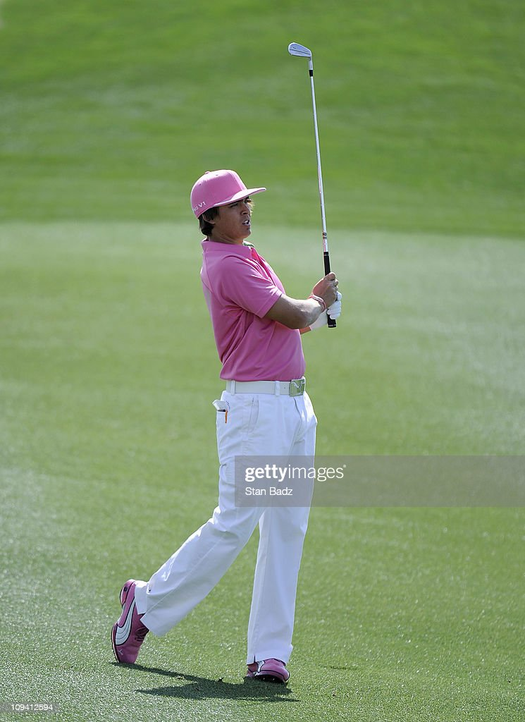 <a gi-track='captionPersonalityLinkClicked' href=/galleries/search?phrase=Rickie+Fowler+-+Golfer&family=editorial&specificpeople=4466576 ng-click='$event.stopPropagation()'>Rickie Fowler</a> hits a shot from the fifth hole during the second round of the World Golf Championships-Accenture Match Play Championship at The Ritz-Carlton Golf Club, Dove Mountain on February 24, 2011 in Marana, Arizona.