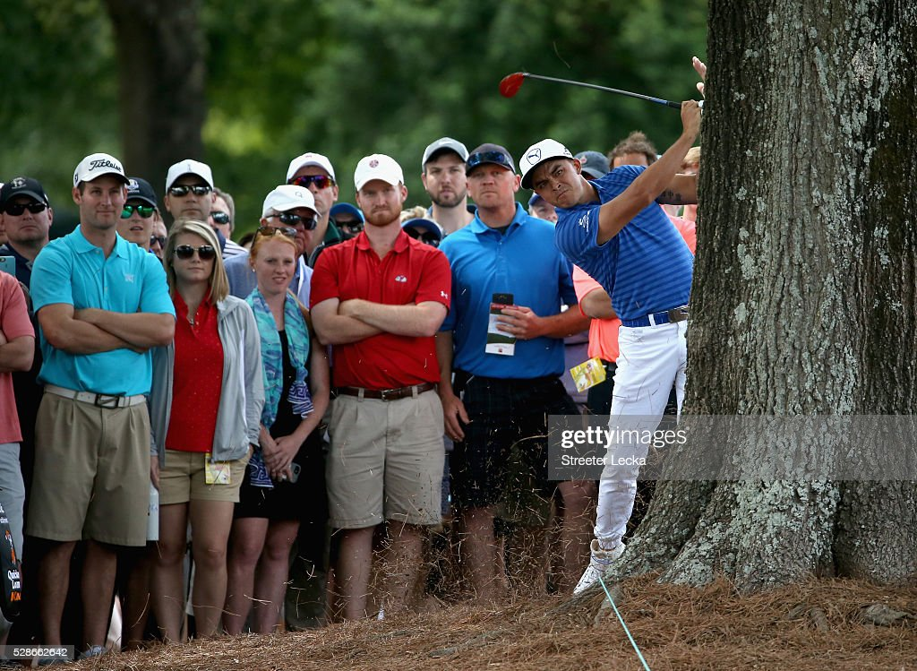 Rickie Fowler hits a shot on the 10th hole during the second round of the 2016 Wells Fargo Championship at Quail Hollow Club on May 6, 2016 in Charlotte, North Carolina.