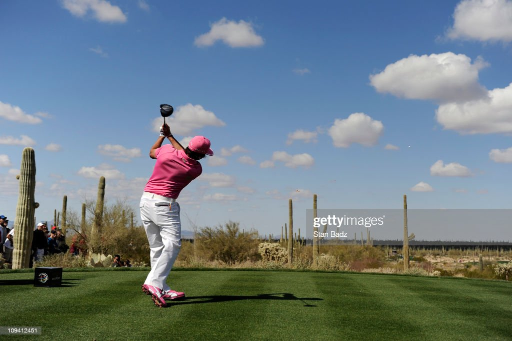 <a gi-track='captionPersonalityLinkClicked' href=/galleries/search?phrase=Rickie+Fowler+-+Golfer&family=editorial&specificpeople=4466576 ng-click='$event.stopPropagation()'>Rickie Fowler</a> hits a tee shot from the fifth hole during the second round of the World Golf Championships-Accenture Match Play Championship at The Ritz-Carlton Golf Club, Dove Mountain on February 24, 2011 in Marana, Arizona.