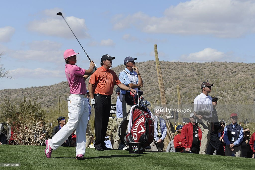 Rickie Fowler hits a tee shot from the ninth hole during the second round of the World Golf Championships-Accenture Match Play Championship at The Ritz-Carlton Golf Club, Dove Mountain on February 24, 2011 in Marana, Arizona.