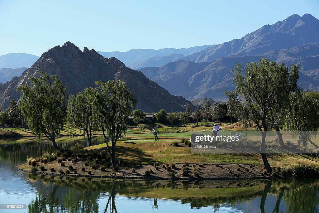 Rickie Fowler hits a tee shot on the 14th hole on the Jack Nicklaus Private Course at PGA West during the second round of the Humana Challenge in...