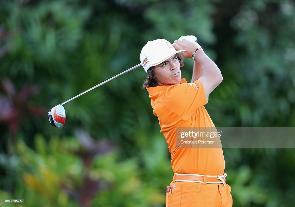 Rickie Fowler hits a tee shot on the first hole during the final round of the Hyundai Tournament of Champions at the Plantation Course on January 8, 2013 in Kapalua, Hawaii.