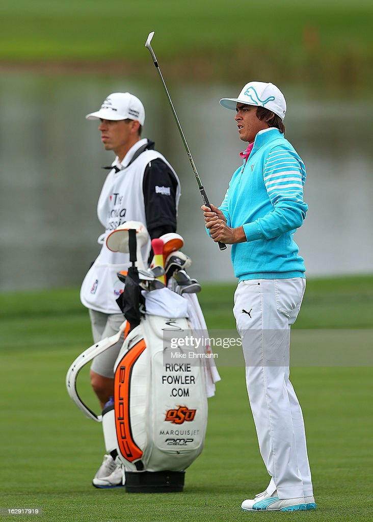 Rickie Fowler hits his approach on the 18th hole during the second round of the Honda Classic at PGA National Resort and Spa on March 1, 2013 in Palm Beach Gardens, Florida.