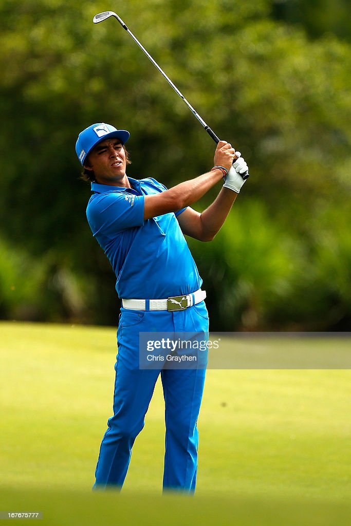 <a gi-track='captionPersonalityLinkClicked' href=/galleries/search?phrase=Rickie+Fowler+-+Golfer&family=editorial&specificpeople=4466576 ng-click='$event.stopPropagation()'>Rickie Fowler</a> hits his second shot on the first hole during the third round of the Zurich Classic of New Orleans at TPC Louisiana on April 27, 2013 in Avondale, Louisiana.