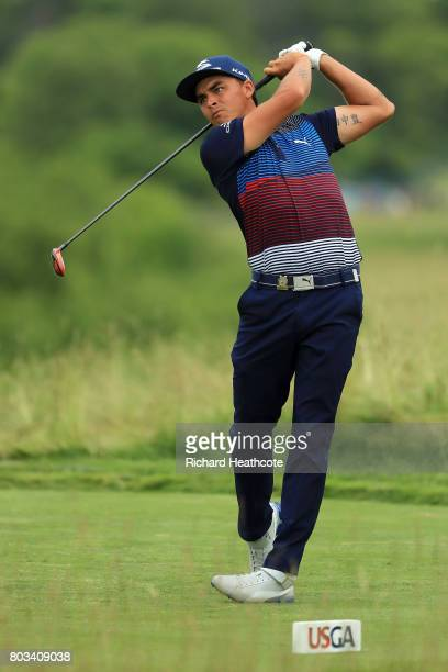 Rickie Fowler hits his tee shot on the 15th during the third round of the 2017 US Open at Erin Hills on June 17 2017 in Hartford Wisconsin