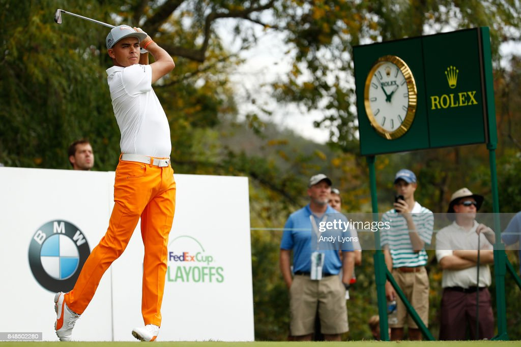 Rickie Fowler hits his tee shot on the sixth hole during the final round of the BMW Championship at Conway Farms Golf Club on September 17, 2017 in Lake Forest, Illinois.