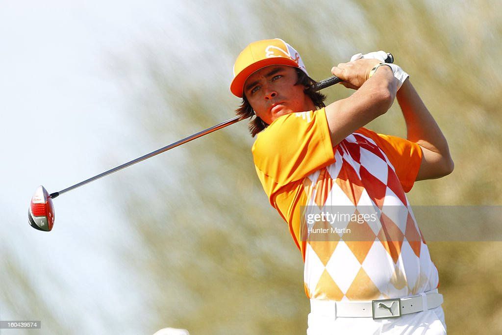 <a gi-track='captionPersonalityLinkClicked' href=/galleries/search?phrase=Rickie+Fowler&family=editorial&specificpeople=4466576 ng-click='$event.stopPropagation()'>Rickie Fowler</a> hits his tee shot on the sixth hole during the first round of the Waste Management Phoenix Open at TPC Scottsdale on January 31, 2013 in Scottsdale, Arizona.