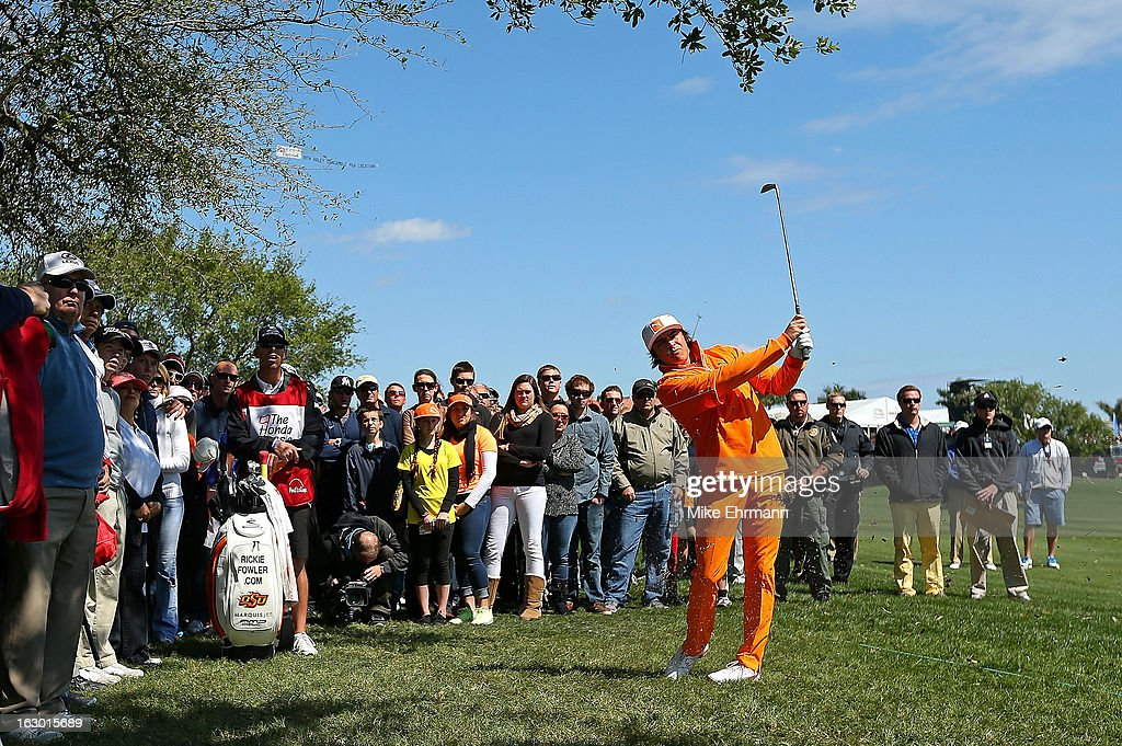 Rickie Fowler hits hisapproach shot on the first hole during the final round of the Honda Classic at PGA National Resort and Spa on March 3, 2013 in Palm Beach Gardens, Florida.