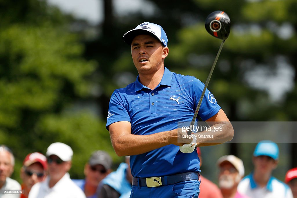Rickie Fowler hits off the fourth tee during the second round of the World Golf Championships - Bridgestone Invitational at Firestone Country Club South Course on July 1, 2016 in Akron, Ohio.