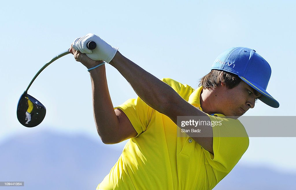 Rickie Fowler hits practice shots on the range during the third round of the World Golf ChampionshipsAccenture Match Play Championship at The...