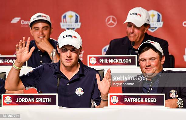 Rickie Fowler Jordan Spieth Phil Mickelson and Patrick Reed of Team USA smile and laugh during a press conference following the team's victory in...