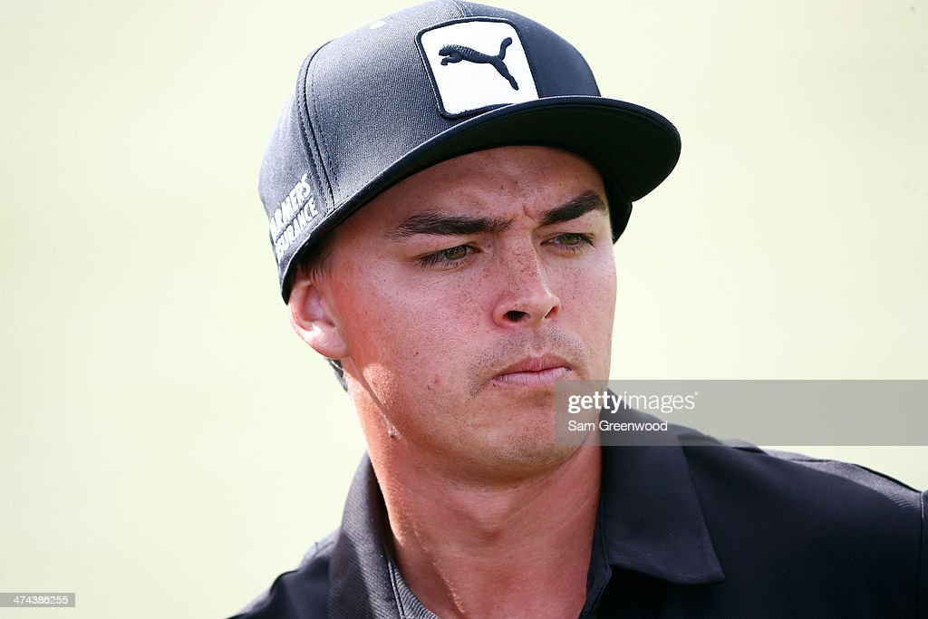 <a gi-track='captionPersonalityLinkClicked' href=/galleries/search?phrase=Rickie+Fowler+-+Golfer&family=editorial&specificpeople=4466576 ng-click='$event.stopPropagation()'>Rickie Fowler</a> looks on during the quarterfinal round of the World Golf Championships - Accenture Match Play Championship at The Golf Club at Dove Mountain on February 22, 2014 in Marana, Arizona.