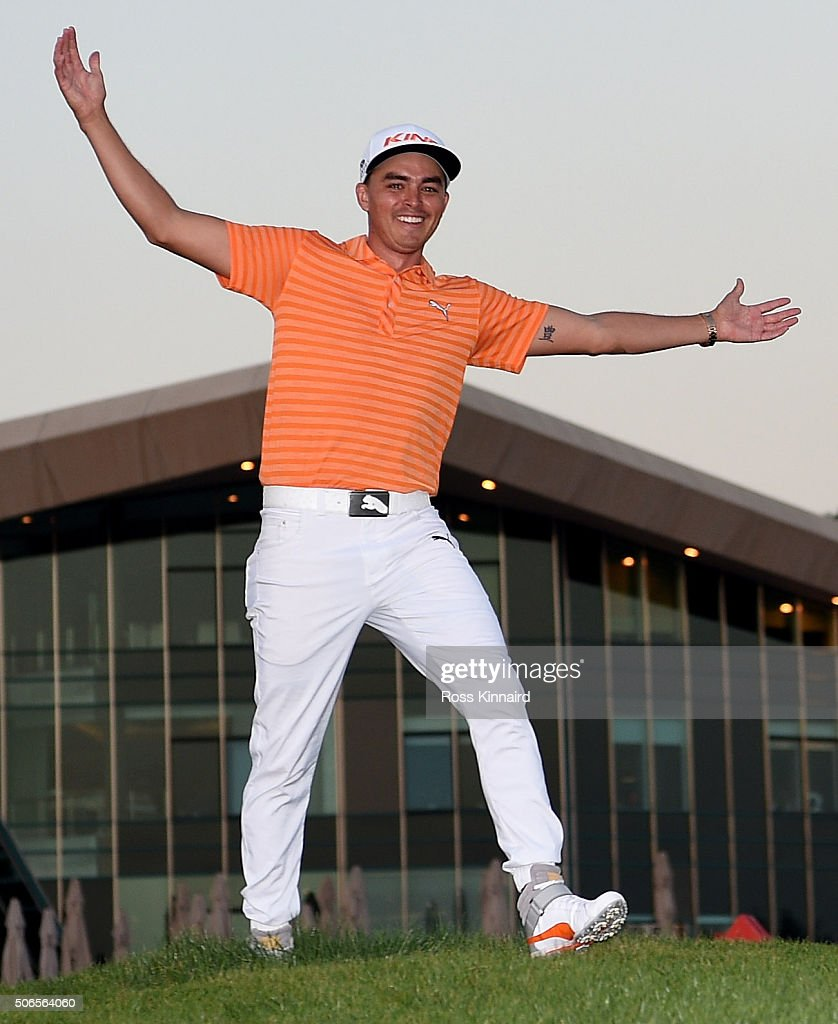 <a gi-track='captionPersonalityLinkClicked' href=/galleries/search?phrase=Rickie+Fowler&family=editorial&specificpeople=4466576 ng-click='$event.stopPropagation()'>Rickie Fowler</a> of the United States celebrates after the final round of the Abu Dhabi HSBC Golf Championship at the Abu Dhabi Golf Club on January 24, 2016 in Abu Dhabi, United Arab Emirates.