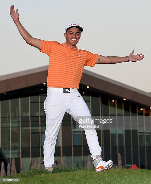 Rickie Fowler of the United States celebrates after the final round of the Abu Dhabi HSBC Golf Championship at the Abu Dhabi Golf Club on January 24...