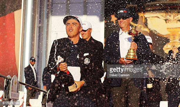 Rickie Fowler of the United States celebrates during the closing ceremony of the 2016 Ryder Cup at Hazeltine National Golf Club on October 2 2016 in...