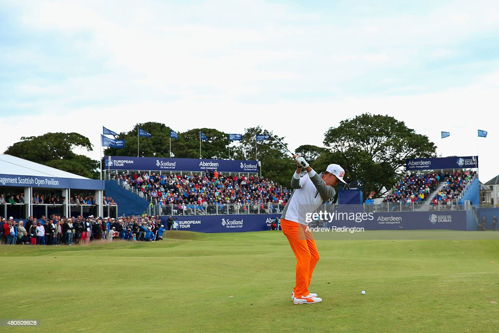 Rickie Fowler of the United States hits an approach shot on the 18th hole during the final round of the Aberdeen Asset Management Scottish Open at...