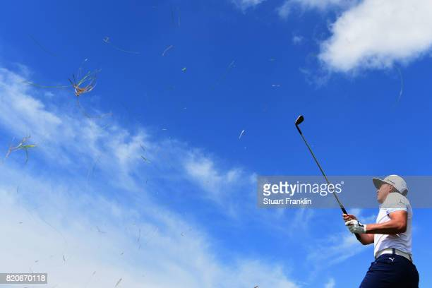 Rickie Fowler of the United States hits from the rough on the 2nd hole during the third round of the 146th Open Championship at Royal Birkdale on...