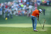 Rickie Fowler of the United States hits his second shot on the 12th hole during the final round of the 96th PGA Championship at Valhalla Golf Club on...