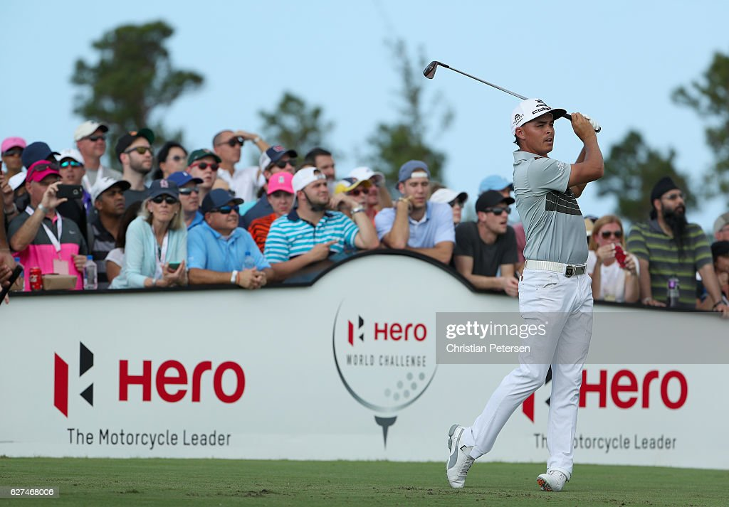 Rickie Fowler of the United States hits his tee shot on 12th hole during round three of the Hero World Challenge at Albany, The Bahamas on December 3, 2016 in Nassau, Bahamas.