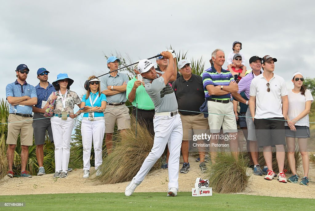 Rickie Fowler of the United States hits his tee shot on the fourth hole during round three of the Hero World Challenge at Albany, The Bahamas on December 3, 2016 in Nassau, Bahamas.